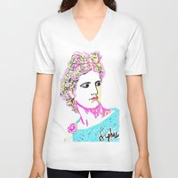 goddess V-neck T-shirts featuring goddess by Iris & Ino