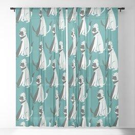 Weasel hugs Pattern in  Teal Sheer Curtain