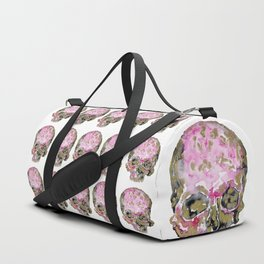 Skull In Pink & Gold Duffle Bag