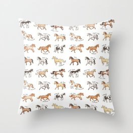 Horses - different colours and markings illustration Throw Pillow