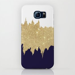 Modern navy blue white faux gold glitter brushstrokes iPhone Case