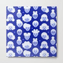Little Girls Pattern - Blue (0002) Metal Print