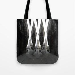 Raking it in remnants, disheveled debris, topical. [A] Tote Bag