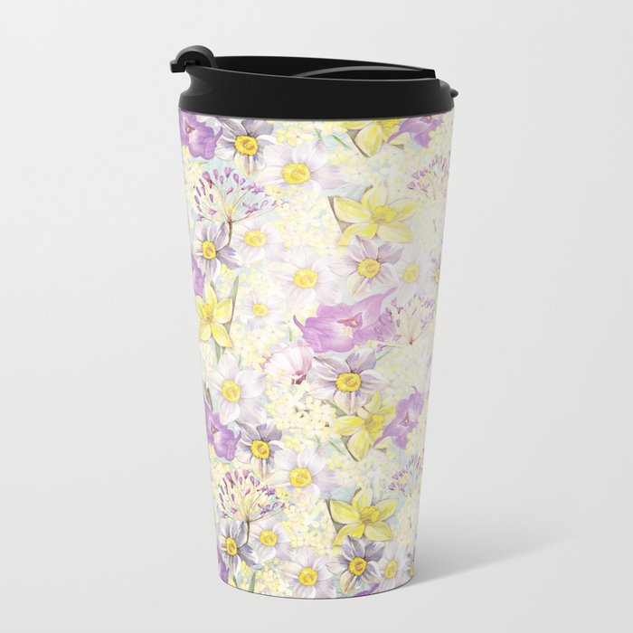 Vintage pattern- Spring in purple and yellow- daffodils and anemones Metal Travel Mug
