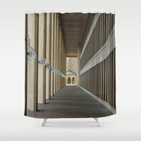 outdoor Shower Curtains featuring Outdoor Corridor by Kevin Myron