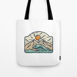 Mountain and Wave Tote Bag