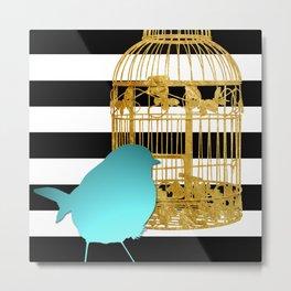 Bird Silhouette & Golden Cage Metal Print