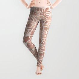 Mandala Seashell Rose Gold Coral Pink Leggings
