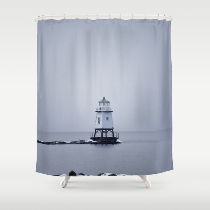 Burlington Breakwater North Lighthouse Shower Curtain
