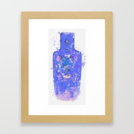 A GILT-DECORATED POWDER-BLUE GROUND ROULEAU VASE QING DYNASTY, KANGXI PERIOD watercolor by Ahmet Framed Art Print