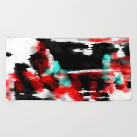 Lukewarm - Abstract, original painting in red, blue, black and white Beach Towel