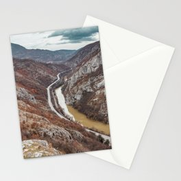 Beautiful picture of the canyon in Serbia, with river and the highway in the middle Stationery Cards