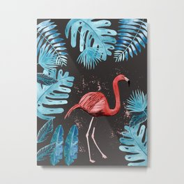 Flamingo with tropical foliage and a dark gray background Metal Print