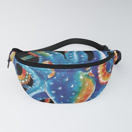 Octopus Colorful Tentacles On Black Fanny Pack