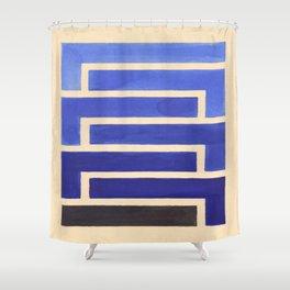 Vintage Blue Geometric Watercolor Painting Shower Curtain