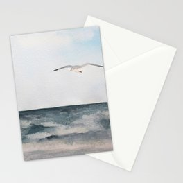 Seagull flying over the Ocean Watercolor Art Stationery Cards