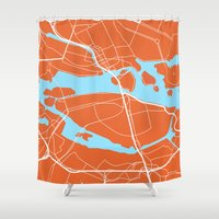 stockholm Shower Curtains featuring Stockholm Map by Studio Tesouro