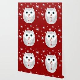 Christmas owl on red Wallpaper