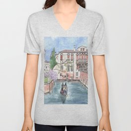 """Gondola in Venice"" Watercolor and Ink Illustration Unisex V-Neck"