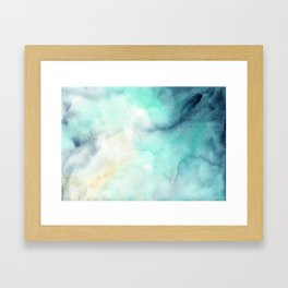 Indigo Turquoise Watercolor Abstract Painting Framed Art Print