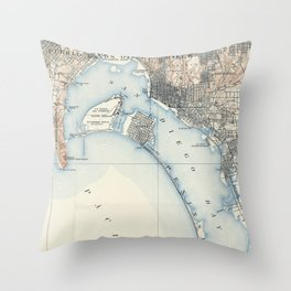 Vintage Map of San Diego California (1902) Throw Pillow