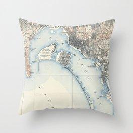 Vintage Map of San Diego California (1902) Throw Pillow