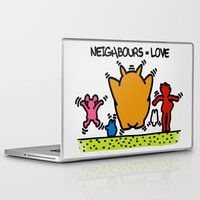 keith haring Laptop & iPad Skins featuring Keith Haring & The neighbours by le.duc