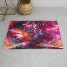 Abstract Nebula #14: Purple gold particles Rug
