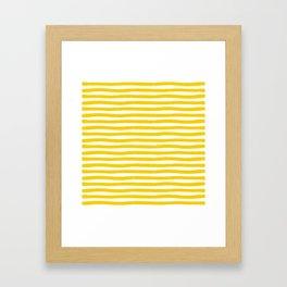 Yellow And White Horizontal Stripes Framed Art Print