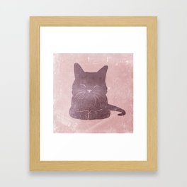 Happy purple cat illustration on pink for girls Framed Art Print