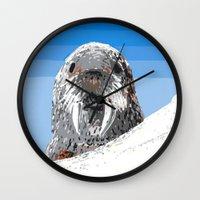 walrus Wall Clocks featuring Walrus by wingnang