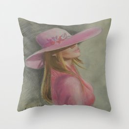 Lady in the hat Throw Pillow