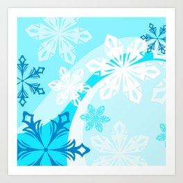 Blue Flower Art Winter Holiday Art Print