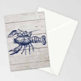 Navy Blue Lobster On Rustic Beach Cottage Woodgrain Stationery Cards