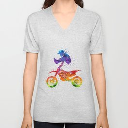 Boy Motocross Trick Colorful Watercolor Art Gift Dirt Bike Unisex V-Neck