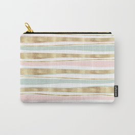 Cute Gold Stripes Doodles Pink Design Carry-All Pouch