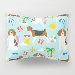 Beagles beagle pattern beach classic socal dog breed pattern palm trees tropical Pillow Sham