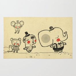 Forest Friends \ Cute Animals March\ elephant cats dogs  Rug