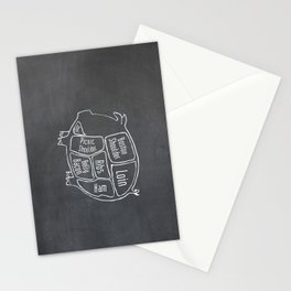 Pork Butcher Diagram (Pig Meat Chart) Stationery Cards
