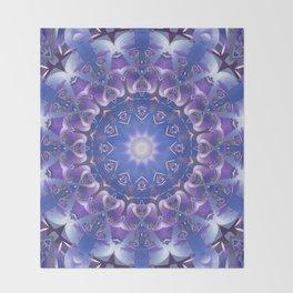Deep Blue and Purple Fractal Mandala Throw Blanket