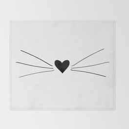 Cat Heart Nose & Whiskers Throw Blanket