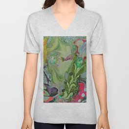 Flowers Blooming Nature Inspired Abstract Art Unisex V-Neck