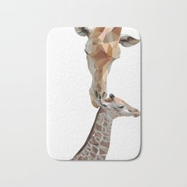 Mother and baby giraffe, low poly Bath Mat