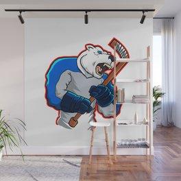 polar bear ice hockey mascot Wall Mural