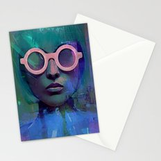 Pink Glasses girl Stationery Cards
