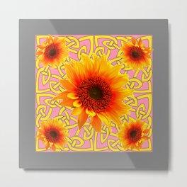 Decorator Sunflower Grey-Coral Color Floral Celtic art Metal Print