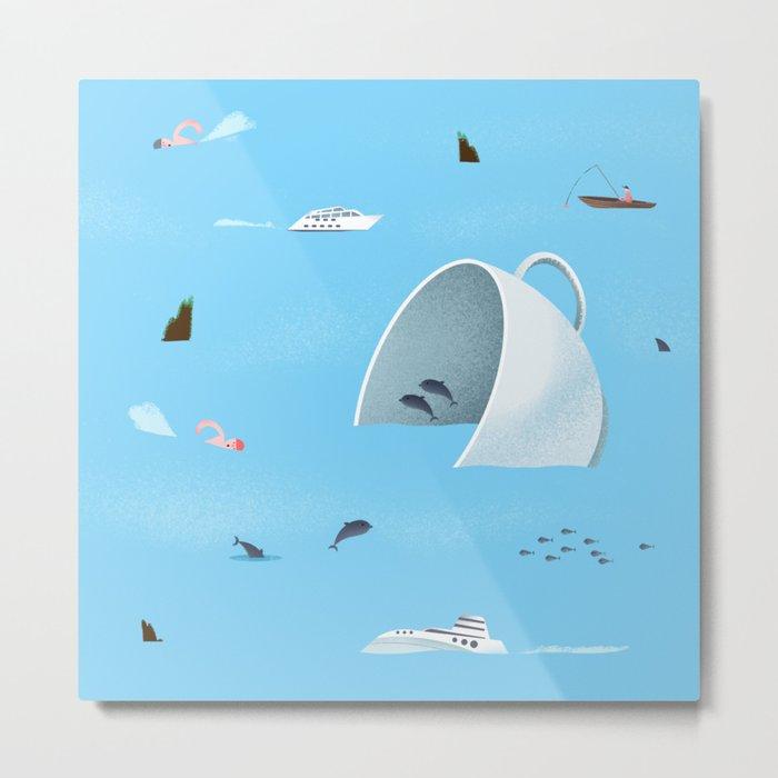Teacup in The Sea Metal Print