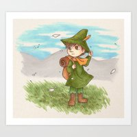 moomin Art Prints featuring Snufkin by Kata (koomalaama)