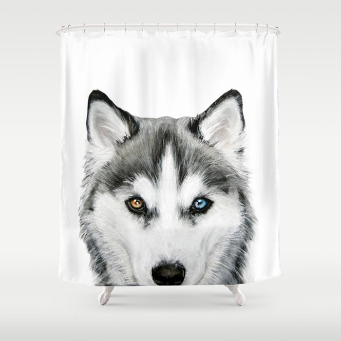 Siberian Husky Dog With Two Eye Color Illustration Original Painting Print Shower Curtain