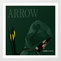 green arrow Art Prints featuring Arrow by Crewe Illustrations